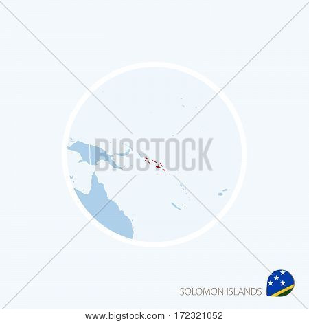 Map Icon Of Solomon Islands. Blue Map Of Oceania With Highlighted Solomon Islands In Red Color.