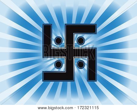 The most important symbol in the religion of Jainism -  the Sun Swastika. Gradient blue background, blue sun rays, vector