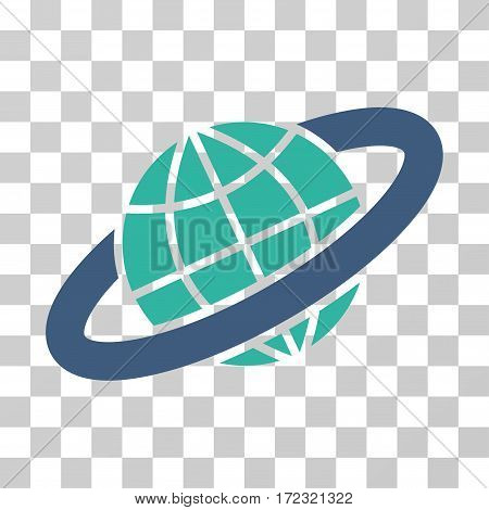 Planetary Ring vector icon. Illustration style is flat iconic bicolor cobalt and cyan symbol on a transparent background.