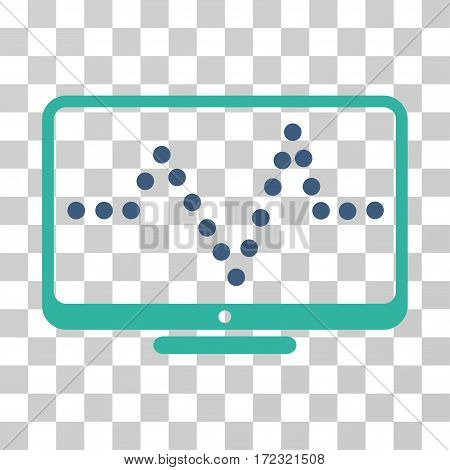 Pulse Chart vector pictograph. Illustration style is flat iconic bicolor cobalt and cyan symbol on a transparent background.