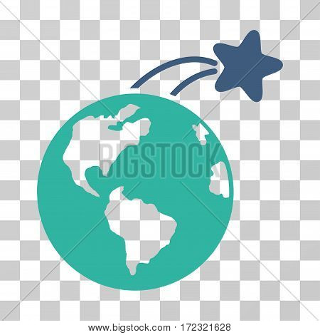 Rising Satellite On Earth vector pictogram. Illustration style is flat iconic bicolor cobalt and cyan symbol on a transparent background.