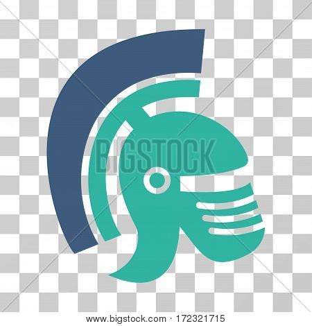 Rome Helmet vector pictogram. Illustration style is flat iconic bicolor cobalt and cyan symbol on a transparent background.