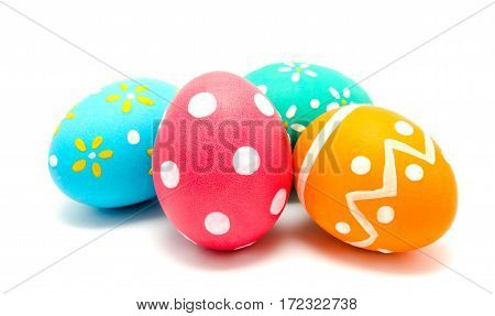 Perfect colorful handmade easter eggs isolated on a white