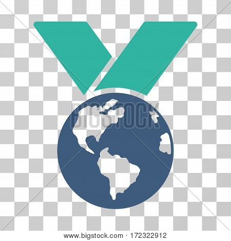 World Medal vector pictogram. Illustration style is flat iconic bicolor cobalt and cyan symbol on a transparent background.
