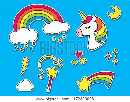 Stickers set with unicorn, rainbow, star, cloud, magic wand  for girls. Cool decoration elements isolated on blue. Vector comic cartoon 80s-90s style. Cute set of fashion patch badges, pins