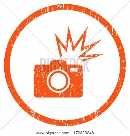 Camera Flash grainy textured icon for overlay watermark stamps. Rounded flat vector symbol with scratched texture. Circled orange ink rubber seal stamp with grunge design on a white background.