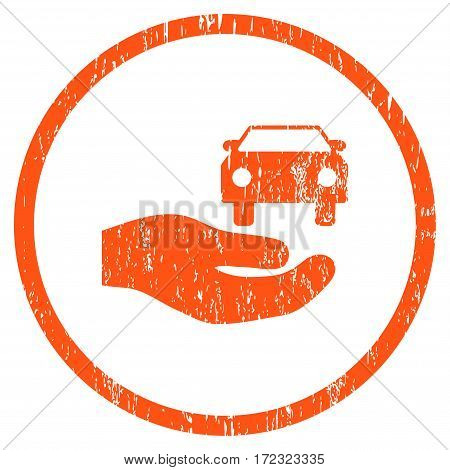 Car Gift Hand grainy textured icon for overlay watermark stamps. Rounded flat vector symbol with unclean texture. Circled orange ink rubber seal stamp with grunge design on a white background.