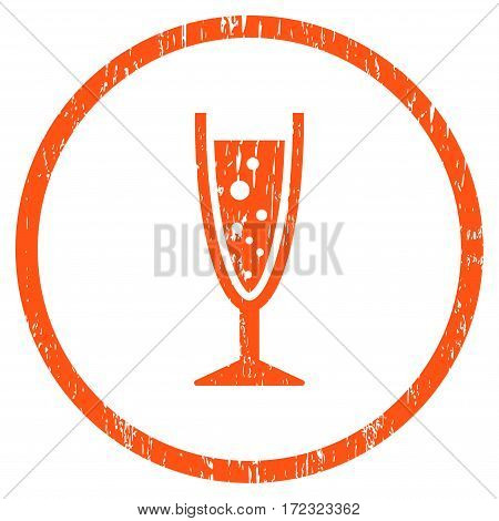 Champagne Glass grainy textured icon for overlay watermark stamps. Rounded flat vector symbol with dust texture. Circled orange ink rubber seal stamp with grunge design on a white background.