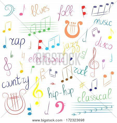 Colorful Hand Drawn Set of Music Symbols and Styles. Doodle Treble Clef Bass Clef Notes and Lyre. Lettering of Blues Electronic Jazz Rap Disco Folk Country Rock Classical. Vector Illustration.