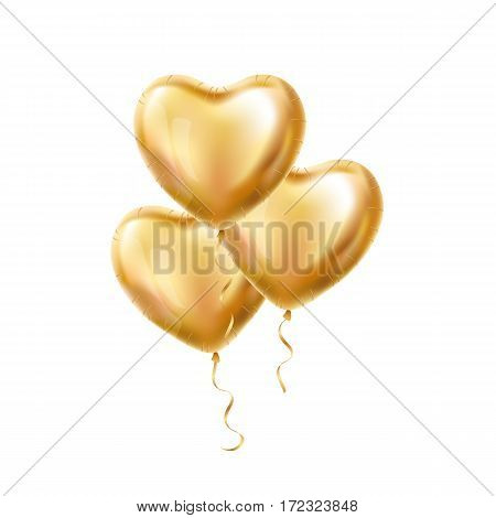 Heart Gold balloons on background. Frosted party balloons event design. Balloons isolated in the air.