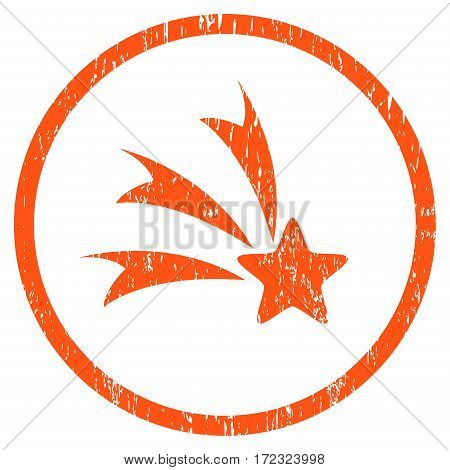 Falling Star grainy textured icon for overlay watermark stamps. Rounded flat vector symbol with dirty texture. Circled orange ink rubber seal stamp with grunge design on a white background.