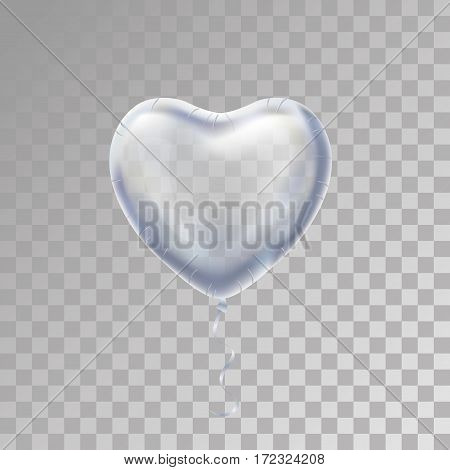 Heart Silver balloon on background. Frosted party balloons event design. Balloons isolated in the air.