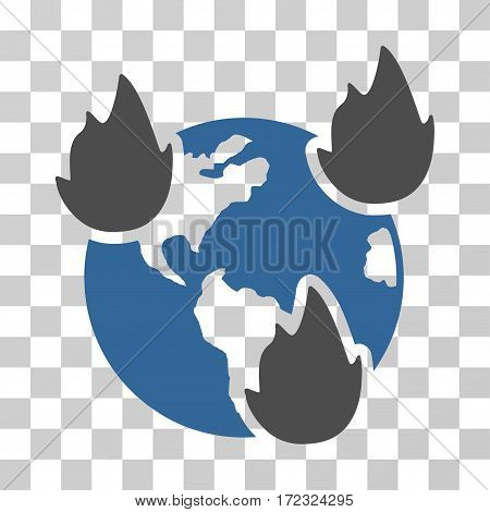 Earth Disasters vector icon. Illustration style is flat iconic bicolor cobalt and gray symbol on a transparent background.
