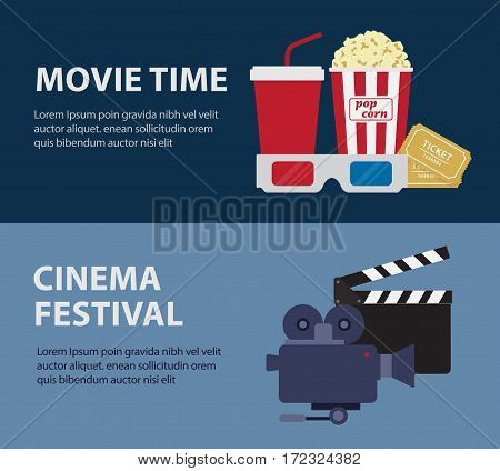 Set Of Cinema Festival And Movie Time Banner