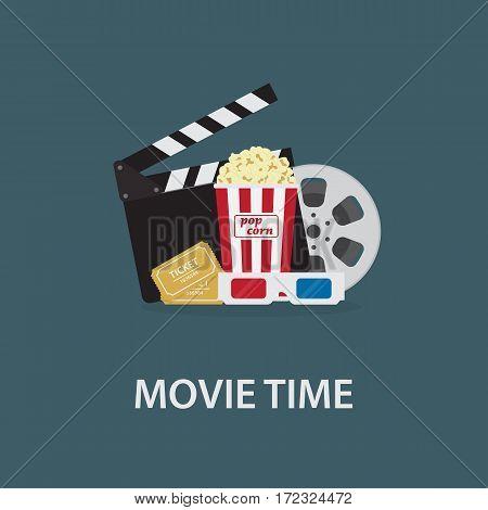 Movie Time Illustration. Flat Popcorn, 3D Eyeglasses, Clapperboard, Ticket
