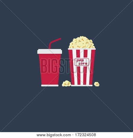 Flat Vector of Popcorn and Cola Drink