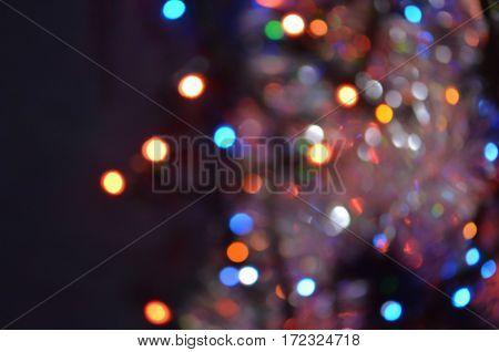 City night light blur bokeh background. Colorful circles of light