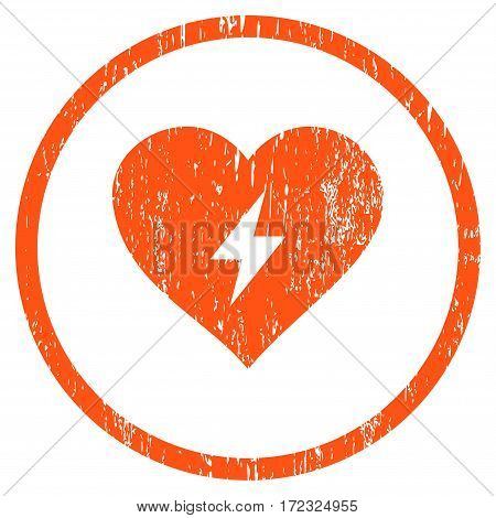 Heart Power grainy textured icon for overlay watermark stamps. Rounded flat vector symbol with dirty texture. Circled orange ink rubber seal stamp with grunge design on a white background.