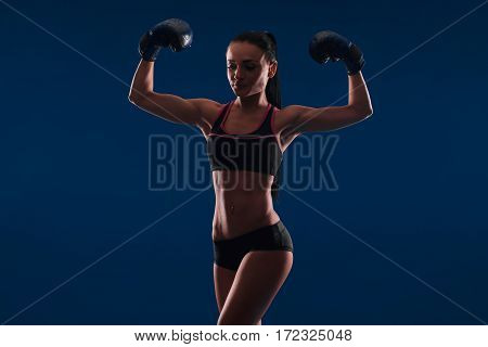 Sport Young Woman Happy Smiling In Boxing Gloves, Face Of Fitness Girl Studio Shot Over Blue Backgro