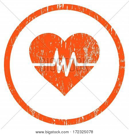 Heart Pulse grainy textured icon for overlay watermark stamps. Rounded flat vector symbol with unclean texture. Circled orange ink rubber seal stamp with grunge design on a white background.