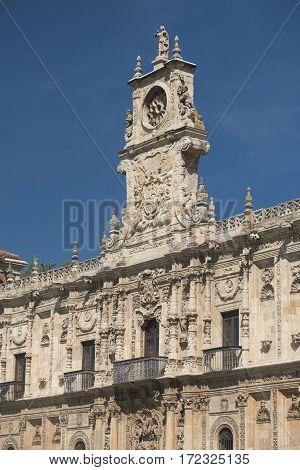 Leon (Castilla y Leon Spain): the historic San Marcos palace built in 16th century nowadays hosting the Parador