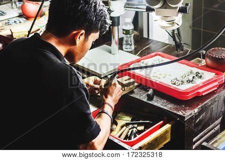 January 2 2017 - UC Silver Legian Celuk Village Bali Indonesia: beauty work of jewelers on factory