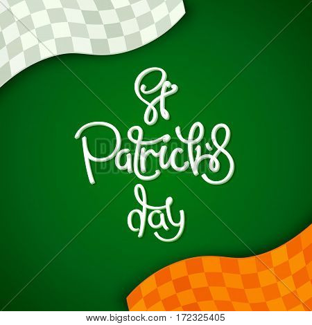 Creative stylized background for St. Patrick's Day holiday. The colors of the national flag of Ireland. Vector design elements.