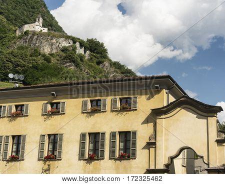 Tirano (Sondrio Lombardy Italy) historic buildings near the Sanctuary