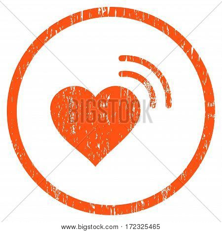 Heart Radio Signal grainy textured icon for overlay watermark stamps. Rounded flat vector symbol with unclean texture. Circled orange ink rubber seal stamp with grunge design on a white background.