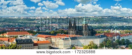 Panorama Of Prague With Saint Vitus Cathedral