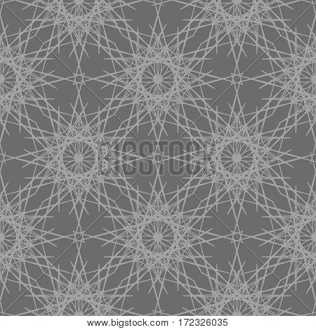 Gray lace snowflakes seamless background. Intricate ornament repeating pattern. Vector