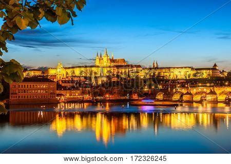 Saint Vitus Cathedral And Charles Bridge On Evening Light, Prague, Czech Republic