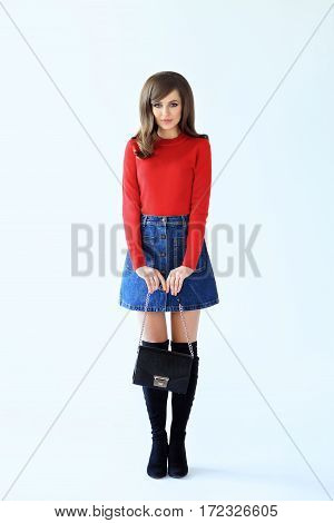 Full Length Fashion Portrait Of Shy Beautiful Woman In Retro Style
