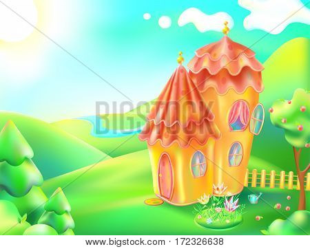 Vector illustration of colorful nature and home. Cartoon landscape and gingerbread house of a sunny summer day. Children background a lodge, river, trees, sky, clouds, apple, flowerbed with flowers