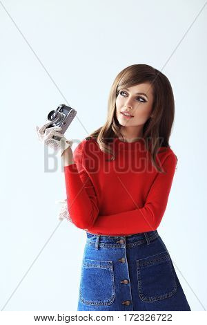 Portrait Of Young Beautiful Woman Whith Photo Camera In Retro Style
