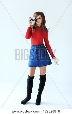 Full Lenght Retro Style Portrait Of Young Beautiful Woman Taking Photo With Camera