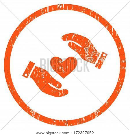 Love Heart Care Hands grainy textured icon for overlay watermark stamps. Rounded flat vector symbol with scratched texture.