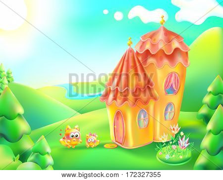 Vector illustration of colorful nature and home. Cartoon landscape and house of a sunny summer day. Children background a lodge, river, trees, sky, clouds, flowerbed with flowers. Mum cat and kitten