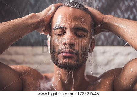 Afro American Man Taking Shower