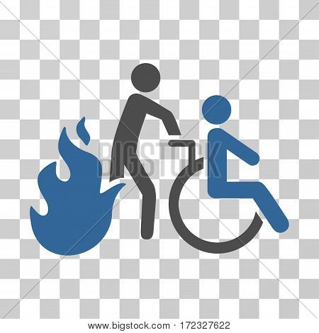 Fire Patient Evacuation vector pictogram. Illustration style is flat iconic bicolor cobalt and gray symbol on a transparent background.
