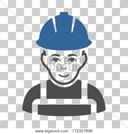 Glad Worker vector pictogram. Illustration style is flat iconic bicolor cobalt and gray symbol on a transparent background.