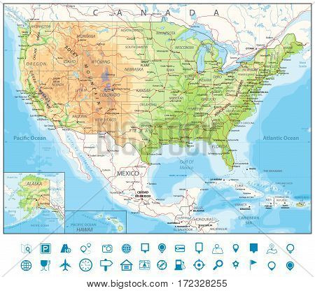Road Physical Map of USA with roads railroads water objects cities and capitals.