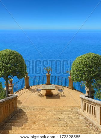 beautiful idyllic terrace high above the mediterranean sea