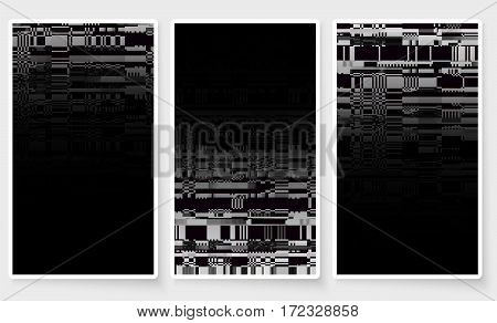 Glitch Screen Fail Mobile Device Data Error Wallpapers Set Black