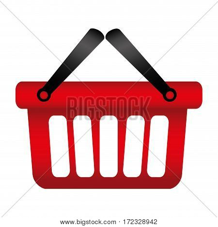 colorful silhouette with shopping basket with two handle vector illustration
