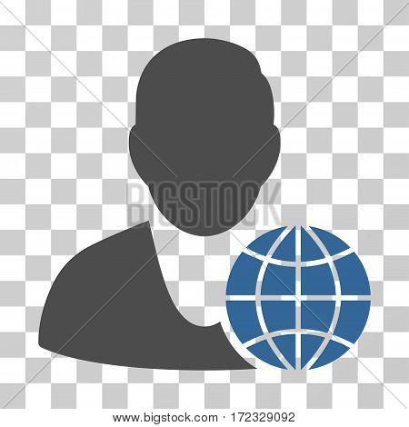 Global Manager vector pictogram. Illustration style is flat iconic bicolor cobalt and gray symbol on a transparent background.