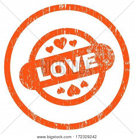 Love Stamp Seal grainy textured icon for overlay watermark stamps. Rounded flat vector symbol with unclean texture. Circled orange ink rubber seal stamp with grunge design on a white background.