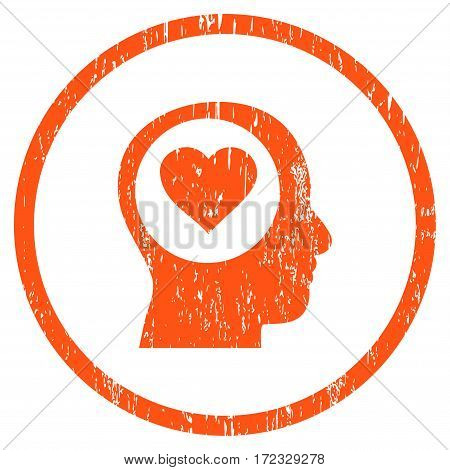 Love Thinking Head grainy textured icon for overlay watermark stamps. Rounded flat vector symbol with dirty texture. Circled orange ink rubber seal stamp with grunge design on a white background.