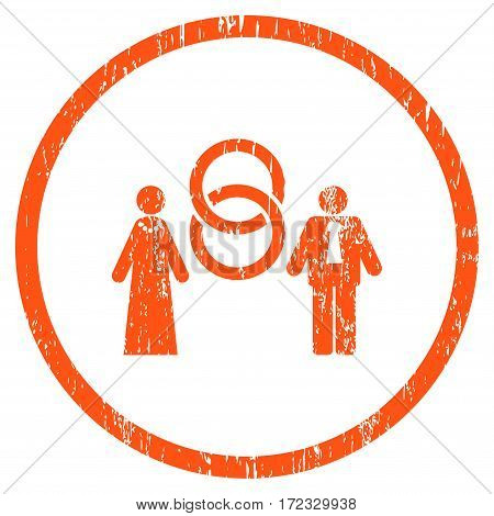 Marriage Persons grainy textured icon for overlay watermark stamps. Rounded flat vector symbol with scratched texture. Circled orange ink rubber seal stamp with grunge design on a white background.