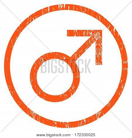 Mars Male Symbol grainy textured icon for overlay watermark stamps. Rounded flat vector symbol with scratched texture. Circled orange ink rubber seal stamp with grunge design on a white background.